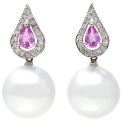 Pair of South Sea Pearl, Pink Sapphire and Diamond Earrings in 18 Karat Gold