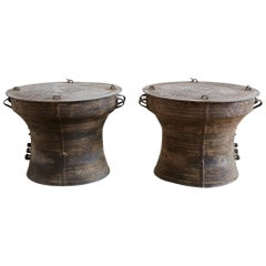 Southeast Asian Bronze Rain Drum Tables or Frog Drums