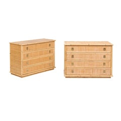 Pair of Southern French Vintage 1980s Raffia and Bamboo Four-Drawer Commodes
