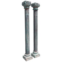 Pair of Southwest Asian Poly Chromed Columns with Corinthian Capitals Circa 1820