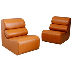 Pair of Space Age Armchair in Semi-Skin Brown, 1970s