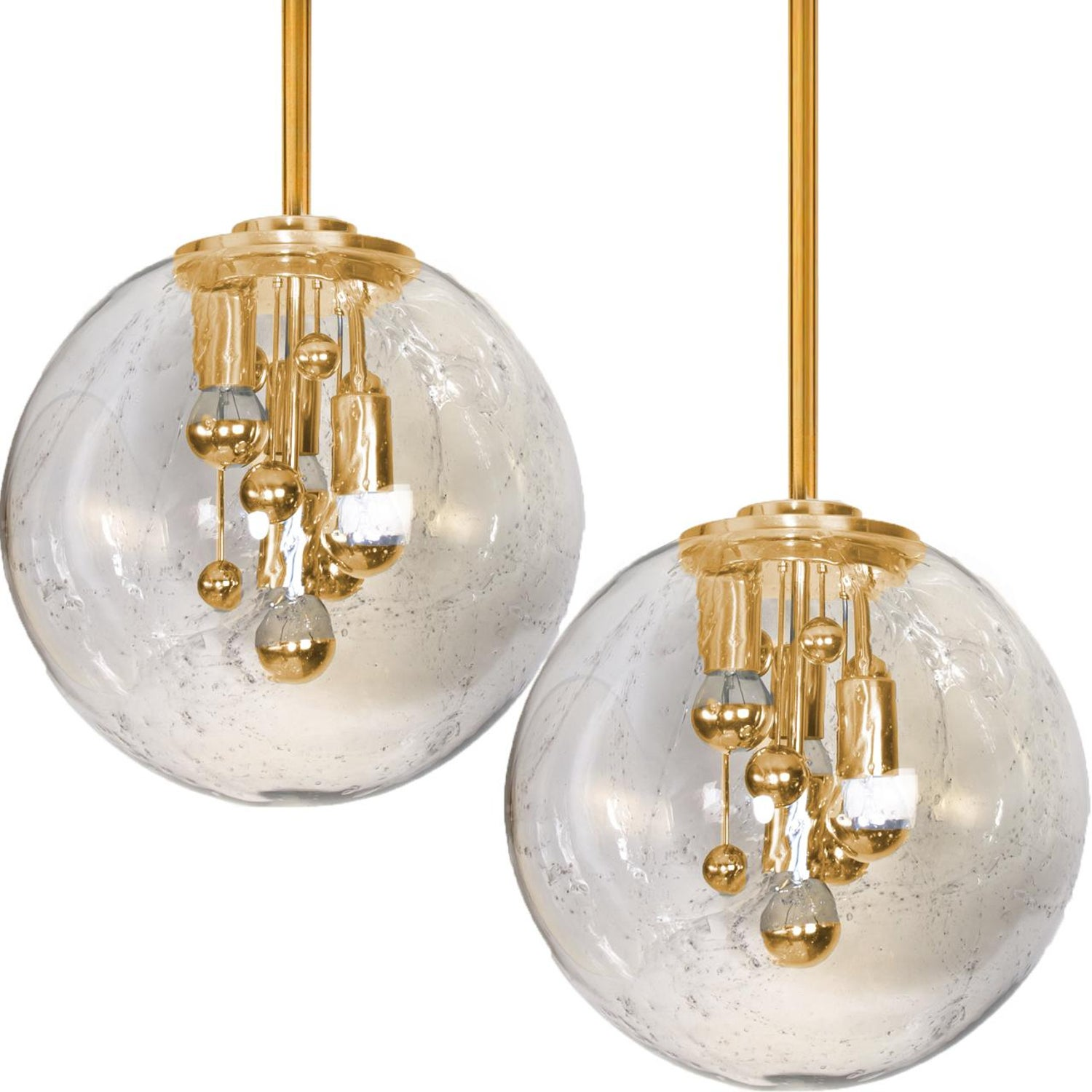 Pair of space age brass and blown glass light fixtures doria 1960s at 1stdibs