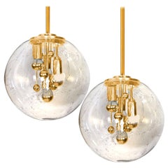 Pair of Space Age Brass and Blown Glass Lights by Doria, 1970s