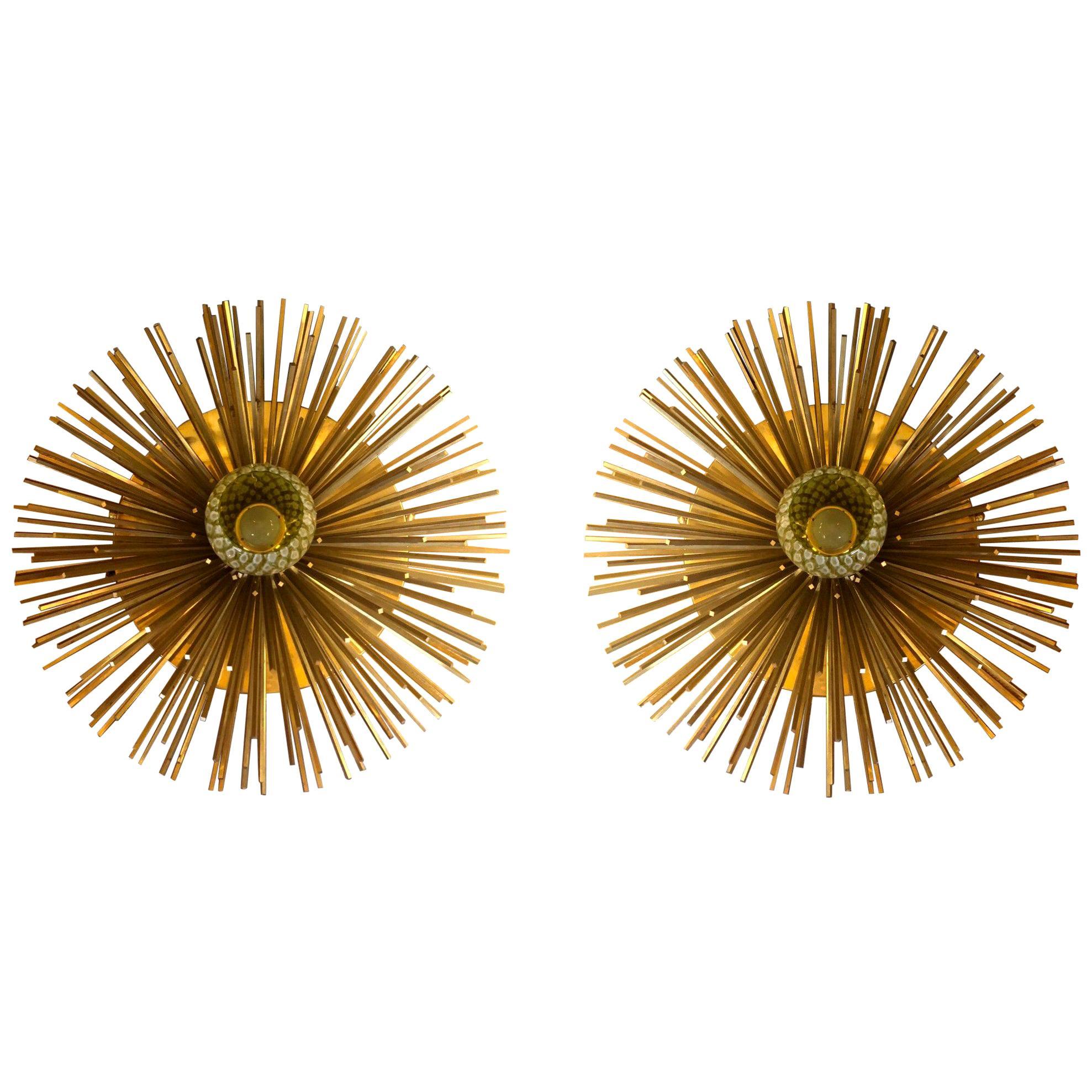 Pair of Space Age Brass & Green Murano Glass Half Sputnik Flush Mounts / Sconces