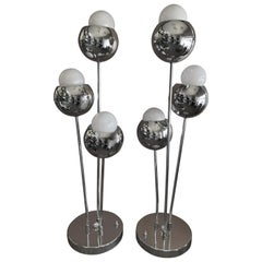 Pair of Space Age Chrome Table Lamps by Torino