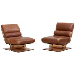 Pair of Space Age Lounge Chairs in Lucite and Leather, 1960s