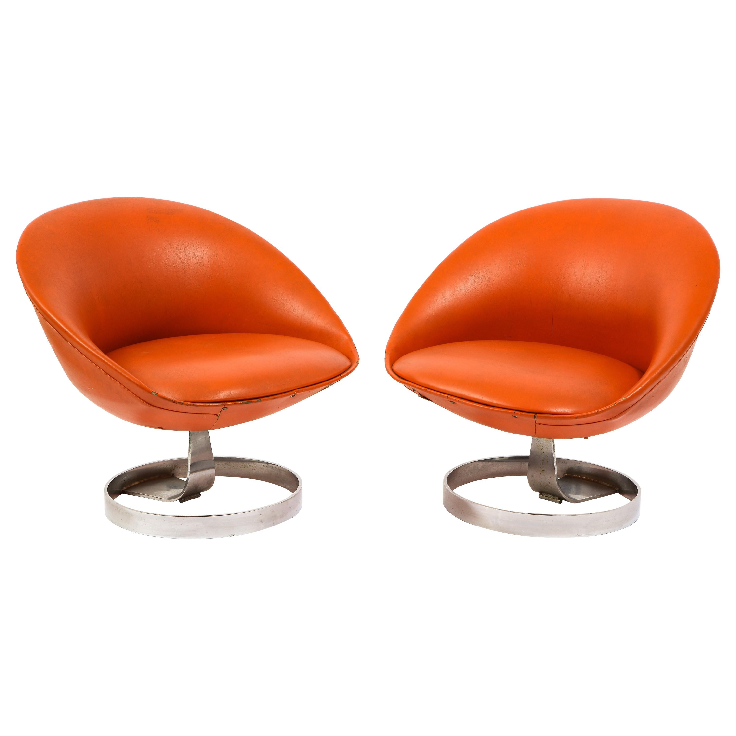 Pair of Space Age Maurice Calka K1 Lounge Chairs, France, 1970's