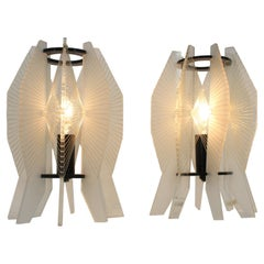 Pair of space age plexiglass table lamps, 1970s