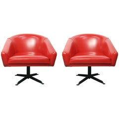 Pair of Space Age Red Swivel Armchairs, 1960s