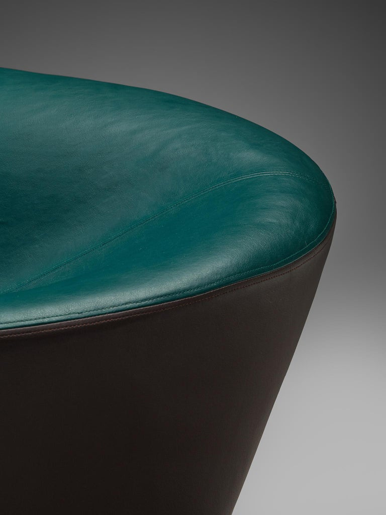 Pair of Space Age Sofas in Green and Brown Leatherette For Sale 6
