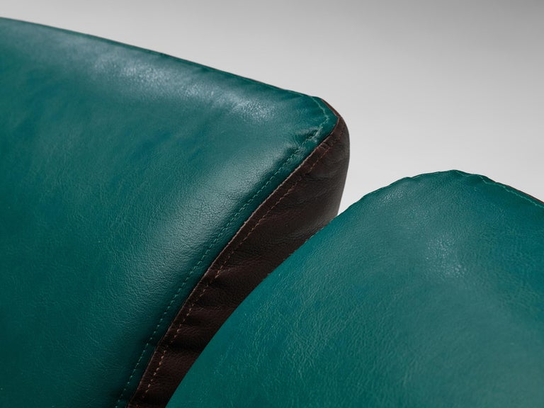 Pair of Space Age Sofas in Green and Brown Leatherette For Sale 7