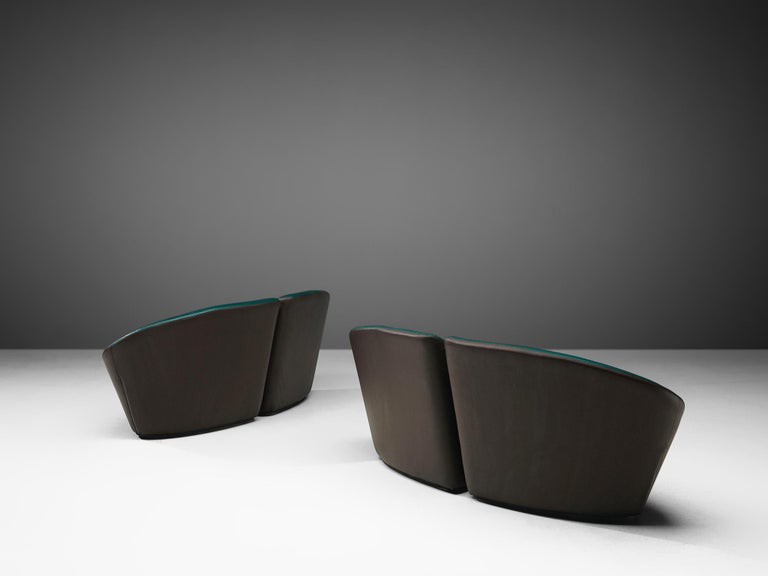 French Pair of Space Age Sofas in Green and Brown Leatherette For Sale