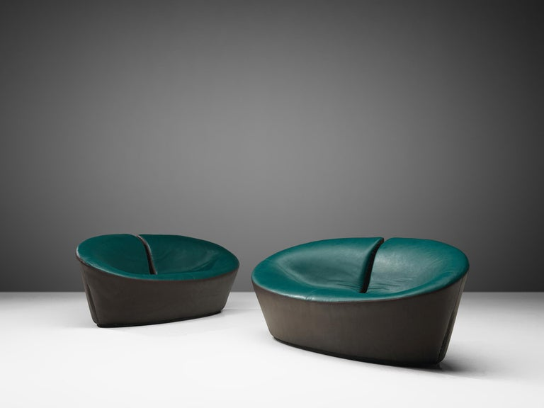 Pair of Space Age Sofas in Green and Brown Leatherette In Good Condition For Sale In Waalwijk, NL