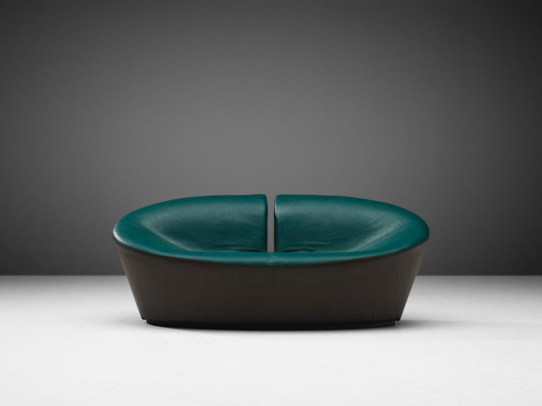 Pair of Space Age Sofas in Green and Brown Leatherette For Sale 1