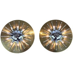 Pair of Space Age Sputnik Wall Lights or Flushmounts, Brass with Chrome, 1970s