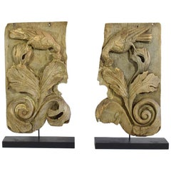 Pair of Spanish 17th Century Carved Oak Baroque Panels