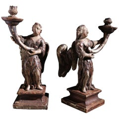 Pair of Spanish 17th Century Carved Wood Winged Angel Candleholders