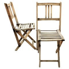 Pair of Spanish 1940s Child-Size Folding Terrace Garden Chairs in Natural Wood