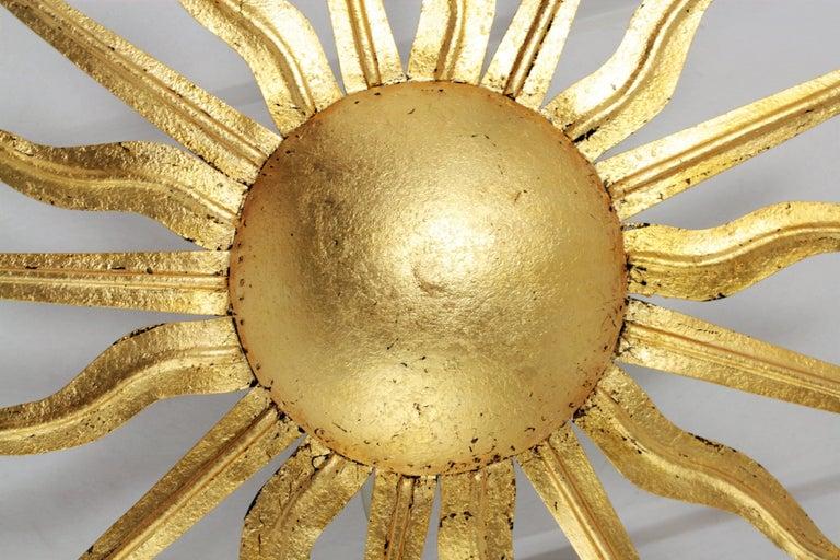 Pair of Spanish 1950s Gold Gilt Iron Sunburst Flush Mount Ceiling Light Fixtures For Sale 6
