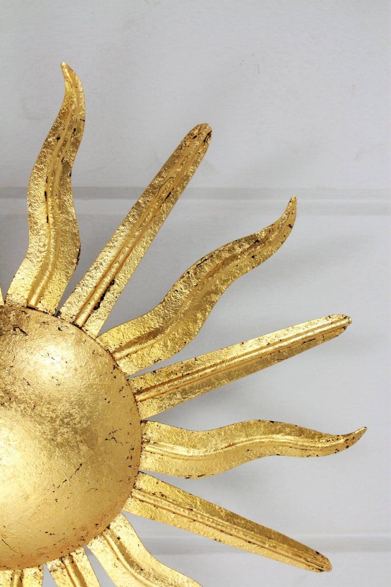 Pair of Spanish 1950s Gold Gilt Iron Sunburst Flush Mount Ceiling Light Fixtures For Sale 7