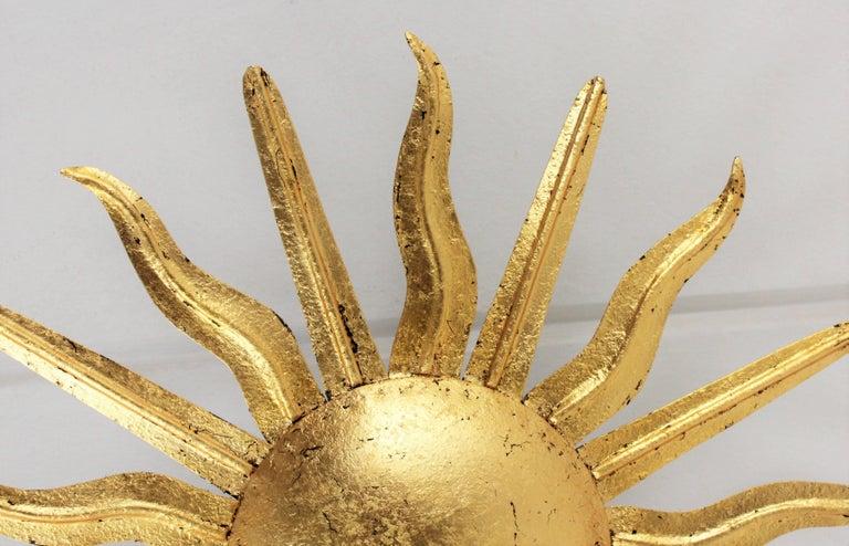 Pair of Spanish 1950s Gold Gilt Iron Sunburst Flush Mount Ceiling Light Fixtures For Sale 9