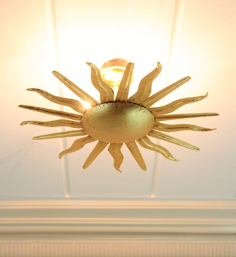 Pair of Spanish 1950s Gold Gilt Iron Sunburst Flush Mount Ceiling Light Fixtures For Sale 11