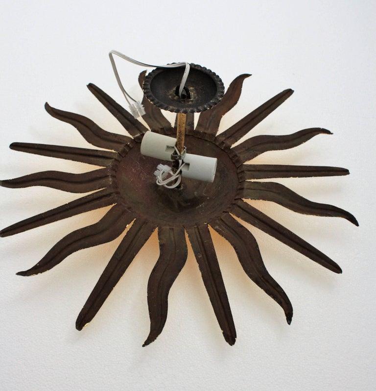 Pair of Spanish 1950s Gold Gilt Iron Sunburst Flush Mount Ceiling Light Fixtures For Sale 12