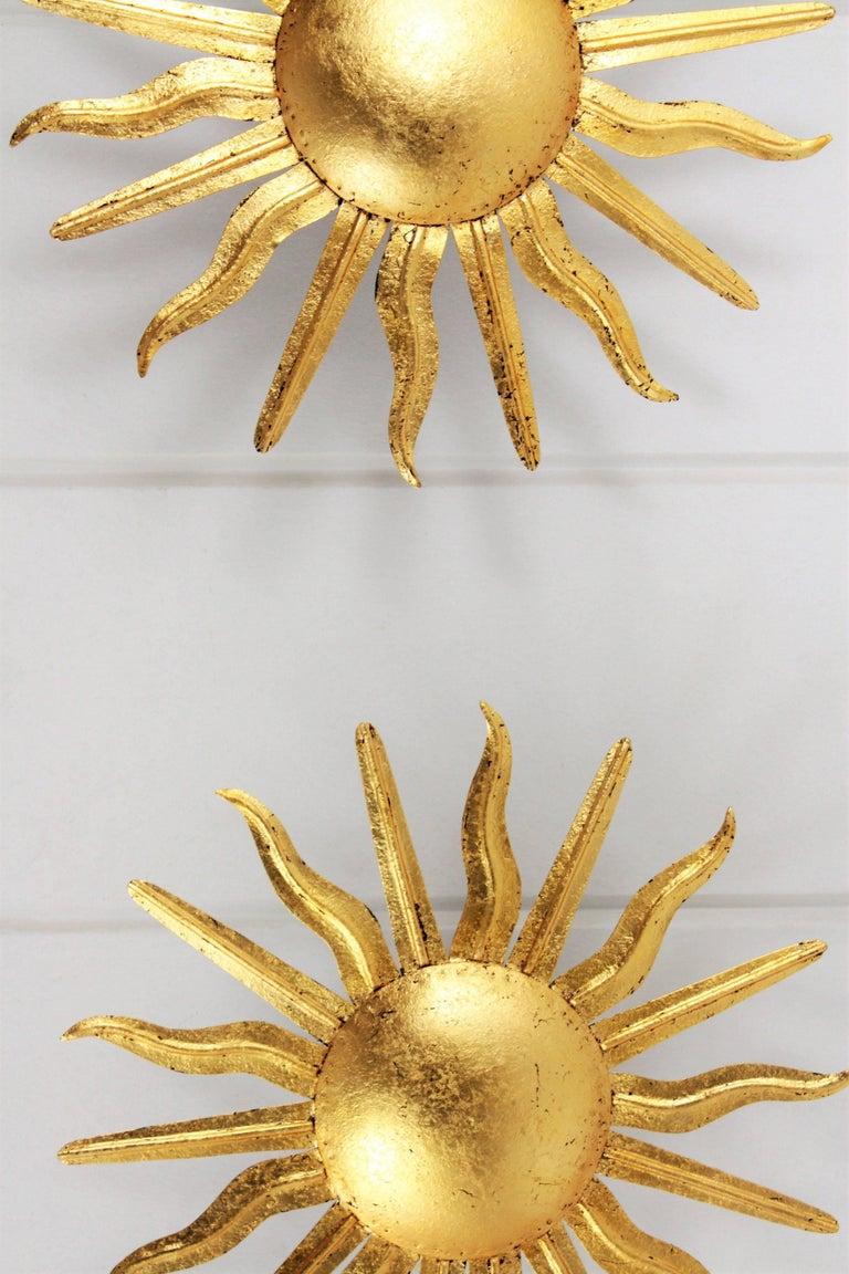 Mid-Century Modern Pair of Spanish 1950s Gold Gilt Iron Sunburst Flush Mount Ceiling Light Fixtures For Sale