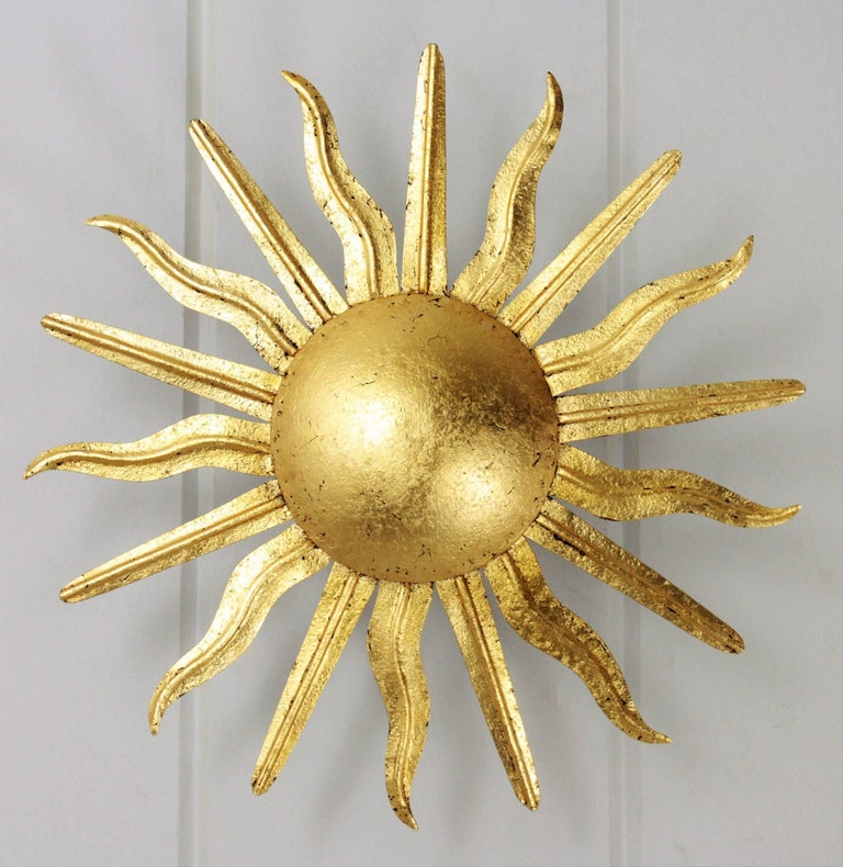 20th Century Pair of Spanish 1950s Gold Gilt Iron Sunburst Flush Mount Ceiling Light Fixtures For Sale