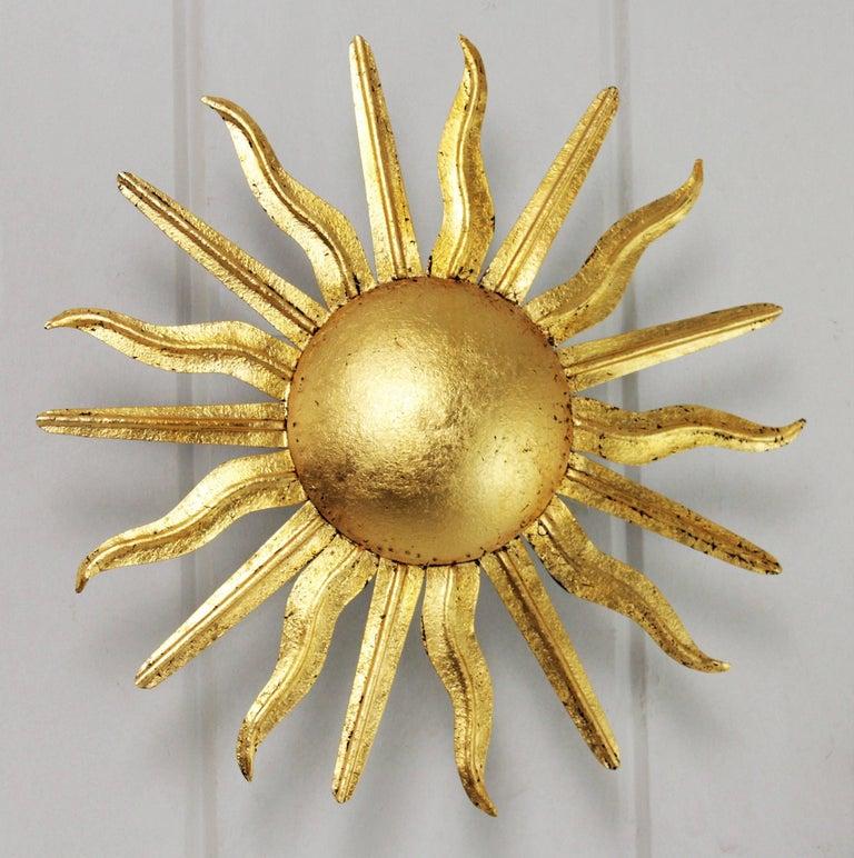 Pair of Spanish 1950s Gold Gilt Iron Sunburst Flush Mount Ceiling Light Fixtures For Sale 1
