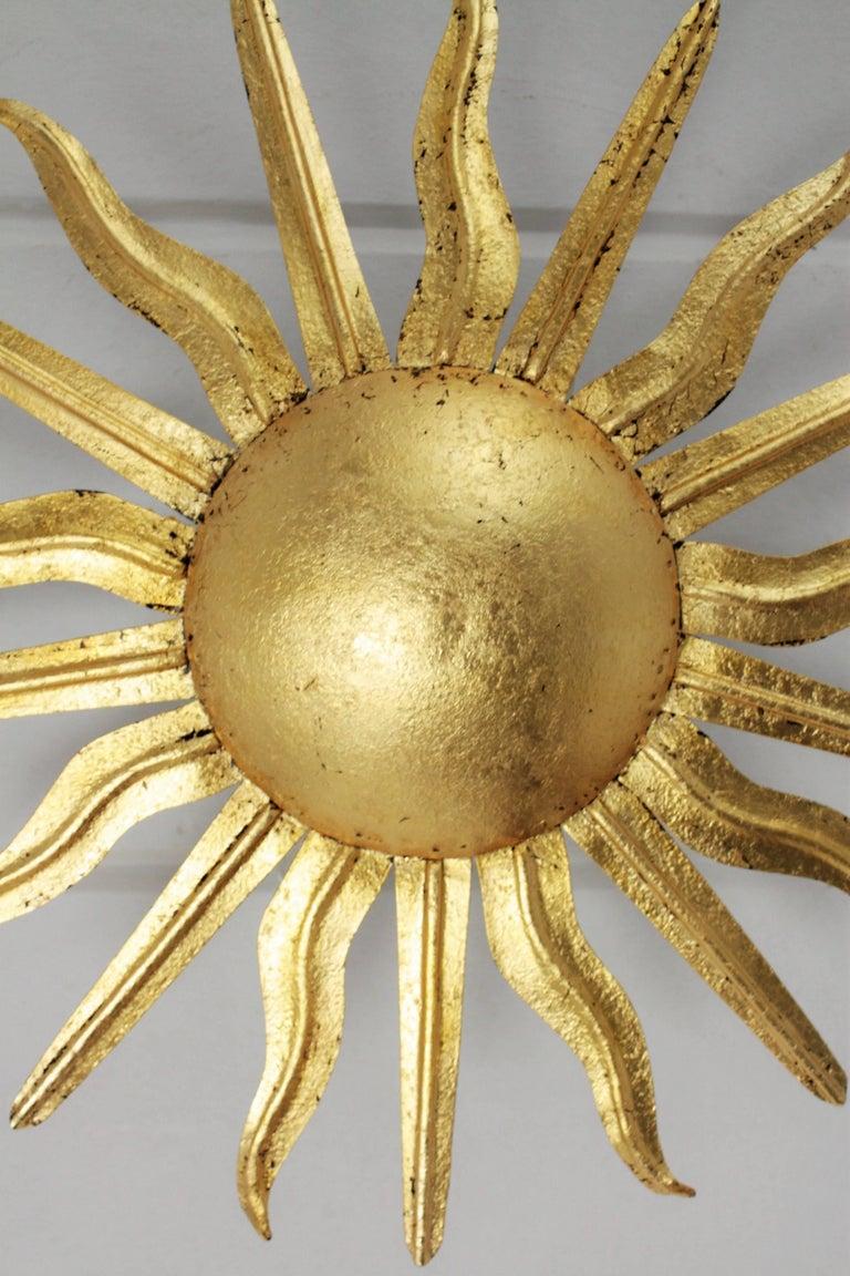 Pair of Spanish 1950s Gold Gilt Iron Sunburst Flush Mount Ceiling Light Fixtures For Sale 4