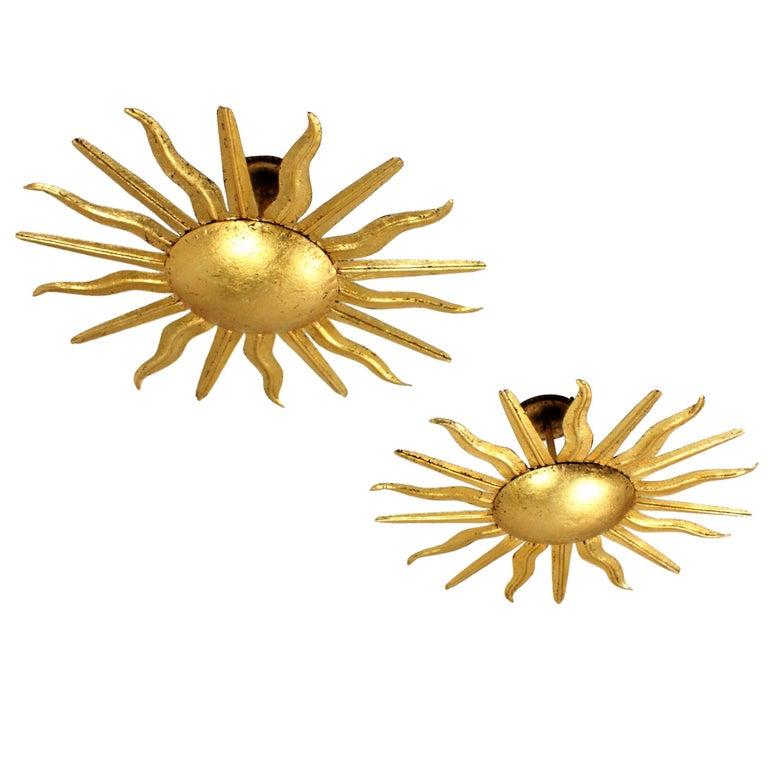 Pair of Spanish 1950s Gold Gilt Iron Sunburst Flush Mount Ceiling Light Fixtures For Sale