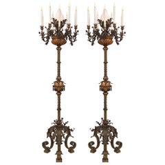 Pair of Spanish 19th Century Patinated Bronze and Copper Torchière Floor Lamps