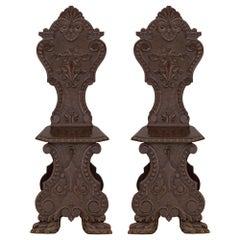 Pair of Spanish 19th Century Walnut Chairs