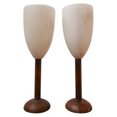 Pair of Spanish Alabaster Mid-Century Goblet Table Lamps