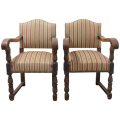 Pair of Spanish Armchairs Chestnut Midcentury