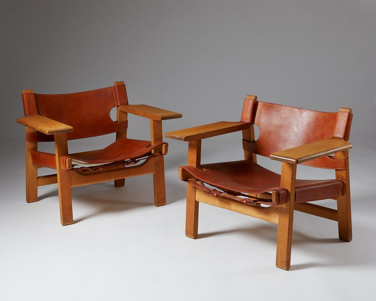 """Mid-Century Modern Pair of """"Spanish"""" Armchairs Designed by Börge Mogensen For Sale"""
