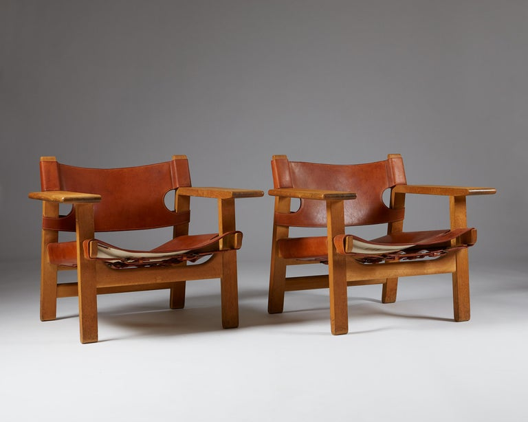 """Danish Pair of """"Spanish"""" Armchairs Designed by Börge Mogensen For Sale"""