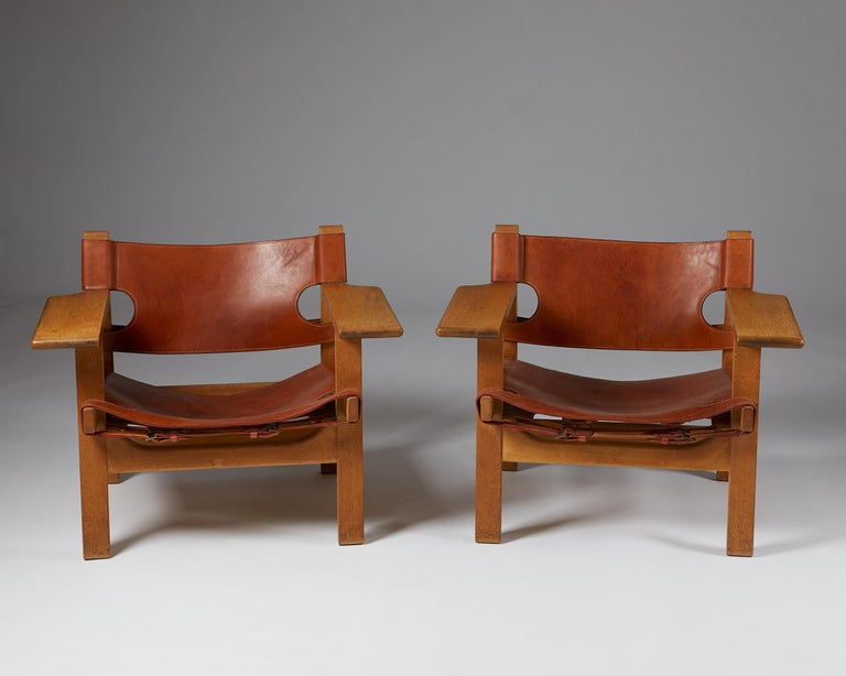 """Pair of """"Spanish"""" Armchairs Designed by Börge Mogensen In Good Condition For Sale In Stockholm, SE"""