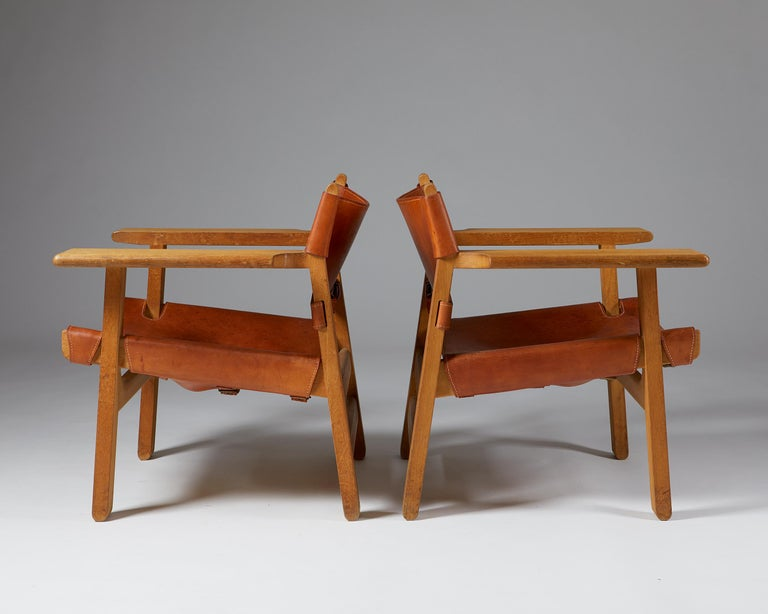"""Mid-20th Century Pair of """"Spanish"""" Armchairs Designed by Börge Mogensen For Sale"""