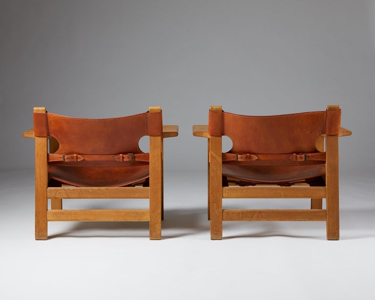 """Leather Pair of """"Spanish"""" Armchairs Designed by Börge Mogensen For Sale"""