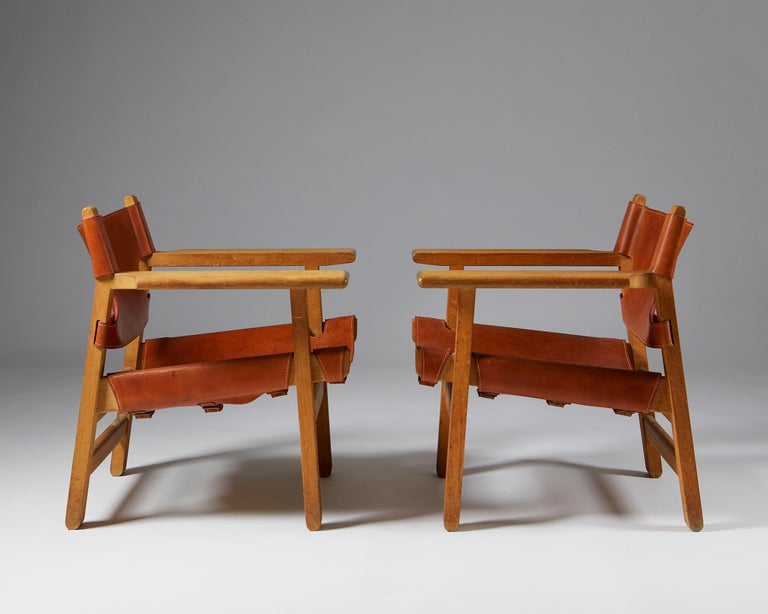"""Pair of """"Spanish"""" Armchairs Designed by Börge Mogensen For Sale 1"""