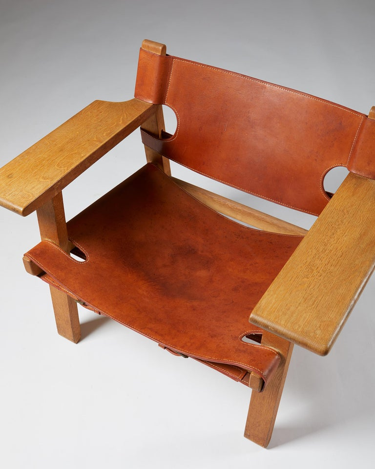"""Pair of """"Spanish"""" Armchairs Designed by Börge Mogensen For Sale 2"""