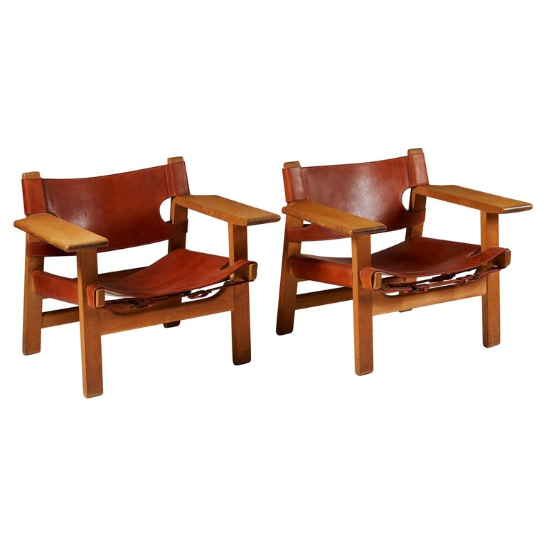 """Pair of """"Spanish"""" Armchairs Designed by Börge Mogensen For Sale"""