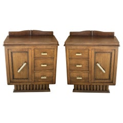 Pair of Spanish Art Deco Heavily Hand Carved Bedside Tables Nightstands, 1920s