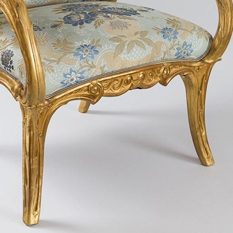 Gilt Pair of Spanish Art Nouveau Armchairs by Joan Busquets For Sale