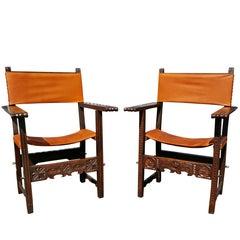 Pair of Spanish Baroque Walnut Armchairs