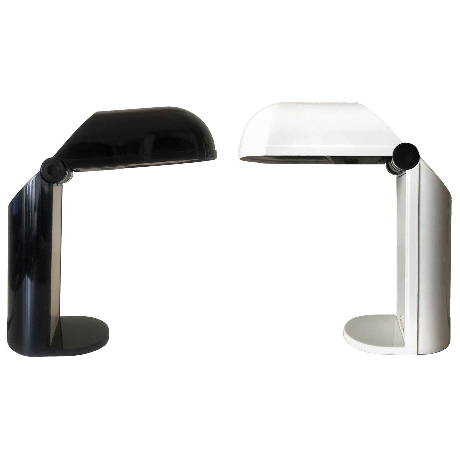 "Pair of Spanish Black and white ""Bambina"" Table Lamps by Fase, 1980s"