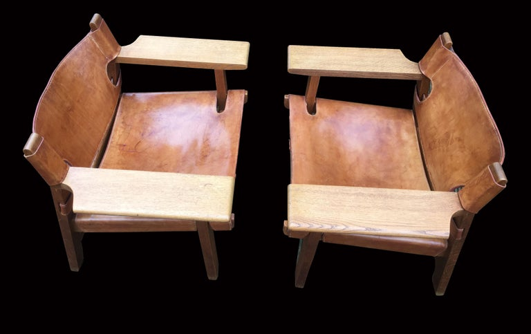 Scandinavian Modern Pair of 'Spanish Chairs' by Borge Mogensen for Fredericia For Sale