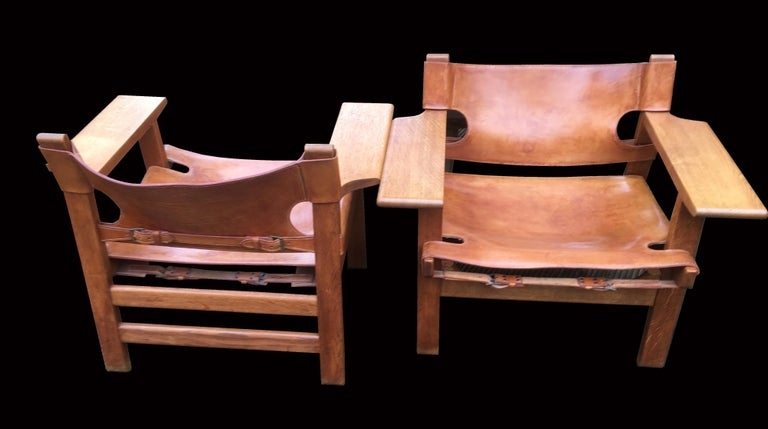 Danish Pair of 'Spanish Chairs' by Borge Mogensen for Fredericia For Sale